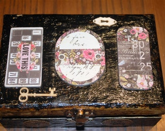 Boho Decoupage Collage Box with Vintage Embellishments