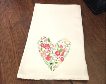 Valentine's Day Floral Heart White Flour Sack Hand Towel Tea Towel Dish Towel Bathroom Hand Towel Valentine Gift Mom Grandmother Kitchen