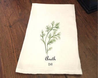 White Flour Sack Towels French Country Herbs - Choice of Basil Dill Marjoram Rosemary Sage Thyme Wedding Bridal Shower Birthday Gift