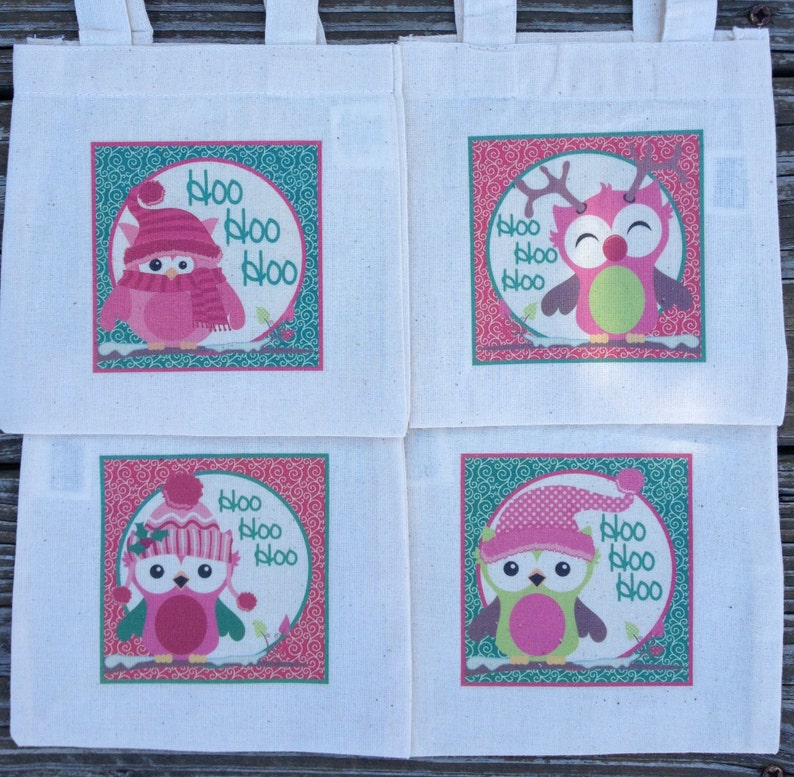 Pink Christmas Owls Treat Favor Bags Mini Cotton Totes Children Kids Guests Christmas Favor Treat Gift Bags Set of 4