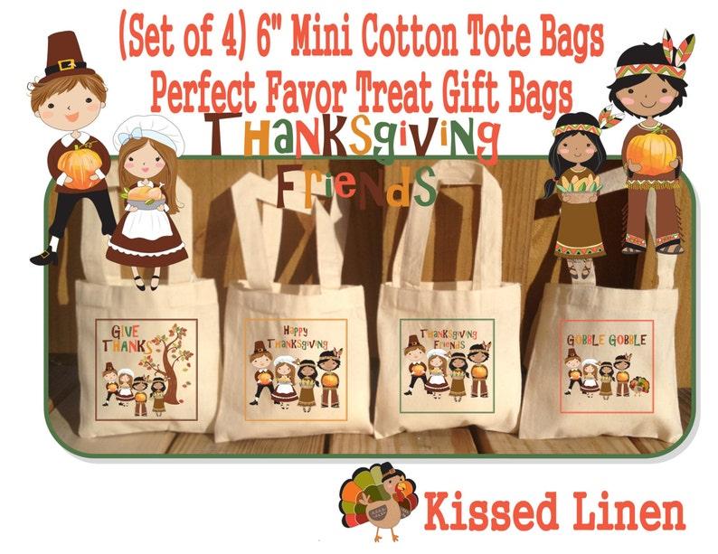 Thanksgiving Favor Bags Friends Pilgrims Indians Turkey Treat Favor Bags Cotton Mini Totes Children Kids Guests Favor Treat Gift Bags