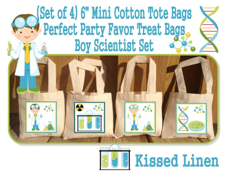 Set of 4 Science Party Scientist Birthday Party Treat Favor Gift Bags Mini 6x6 Natural Cotton Totes Children Kids Girls Boys