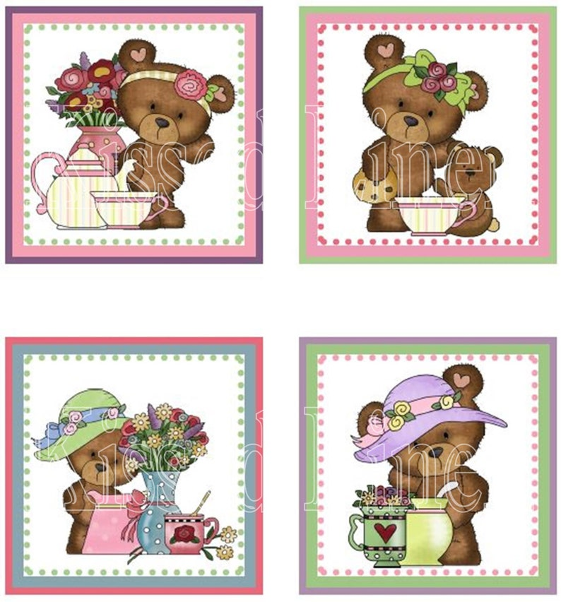 Little Girl Teddy Bear Tea Party Pink Lavender Green Birthday Treat Favors Gift Bags Mini Cotton Totes Children Kids Guests