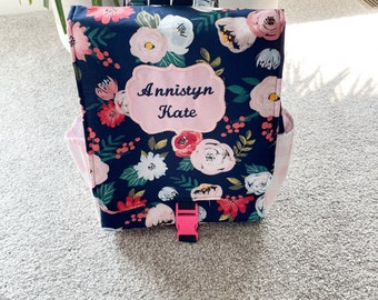 Floral Backpack-girl backpack-navy floral backpack-grow with me backpack-elementary backpack