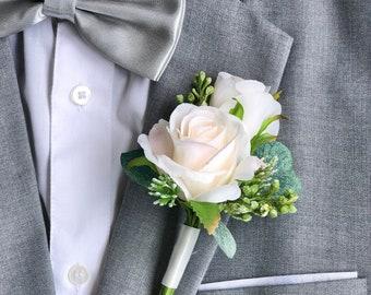 Ivory Blush Double Rose Eucalyptus Boutonniere   Wedding Boutonniere for Groom (ivory blush)
