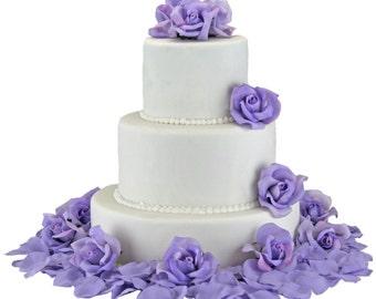 Lavender Silk Rose Cake Flowers