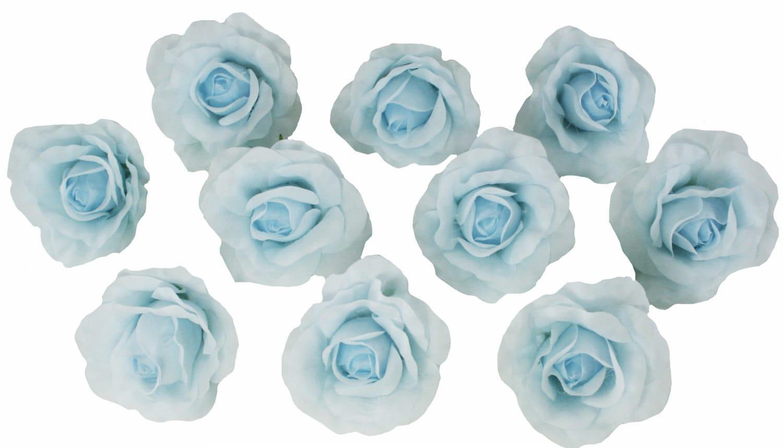 10 Light Blue Rose Heads Silk Flower Weddingreception Table Etsy