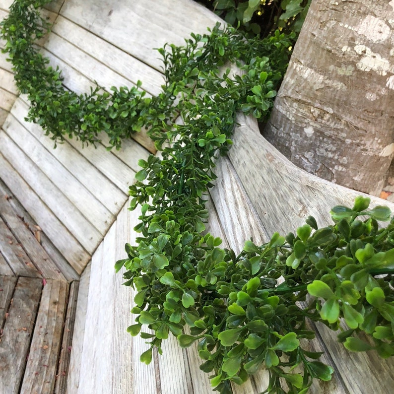 Boxwood Greenery Garland Faux Wedding Garland Christmas Decoration Artificial Plant Home Decor 9 Feet