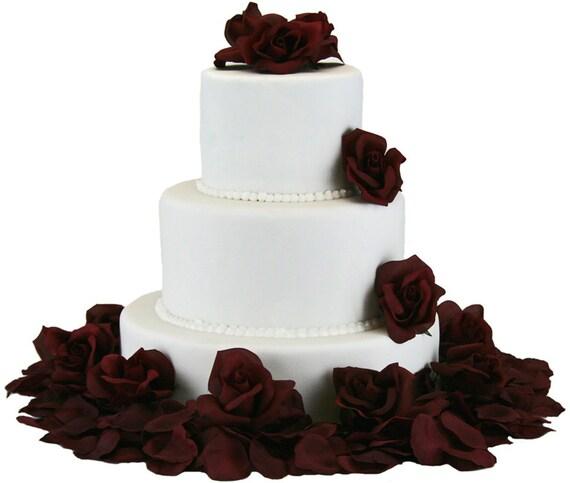 Borgoña//Rosas Blancas Boda Ramo de Flores Decoración De Pastel Comestible Cake Toppers