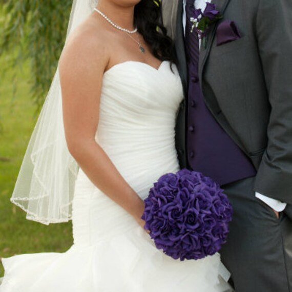 Purple Rose Silk Bridal Wedding Bouquet Large 3 Dozen Roses Etsy
