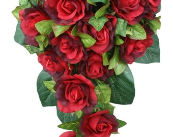 Red Silk Rose Cascade - Bridal Wedding Bouquet