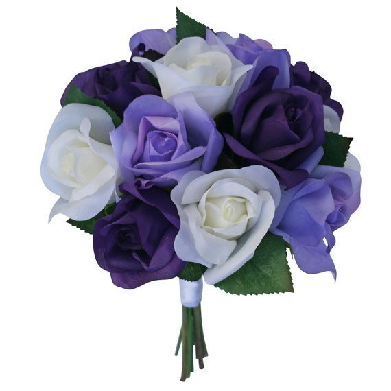 Purple Lavender Ivory Garden Rose Stem Fake Flower Bouquet Etsy
