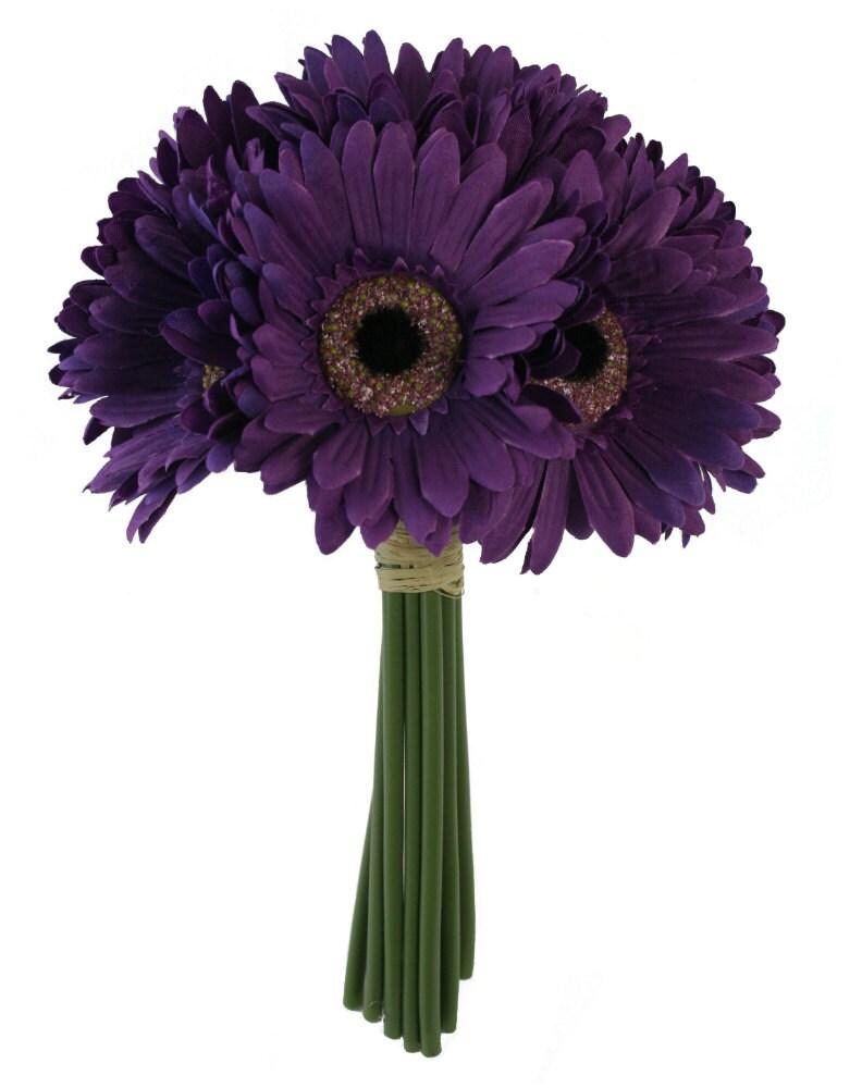 Purple Daisy Bouquet Bridal Wedding Bouquet Etsy