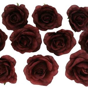 Bulk silk flowers etsy 10 burgundy rose heads silk flower weddingreception table decorations bulk silk flowers mightylinksfo