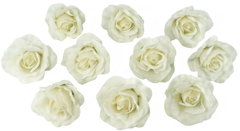 10 ivory rose heads silk flower weddingreception table etsy zoom izmirmasajfo