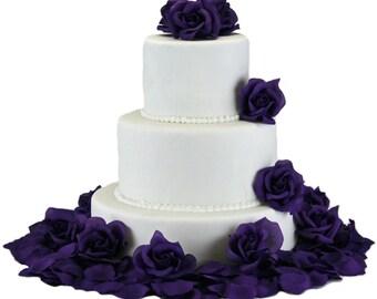 Purple Silk Rose Cake Flowers - Reception Decoration