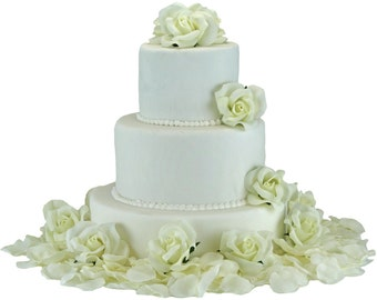 Ivory Silk Rose Cake Flowers