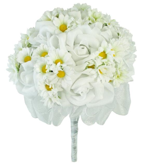 Sunflower Daisy Silk Cascading Bridal Bouquet Sunflower Bridal