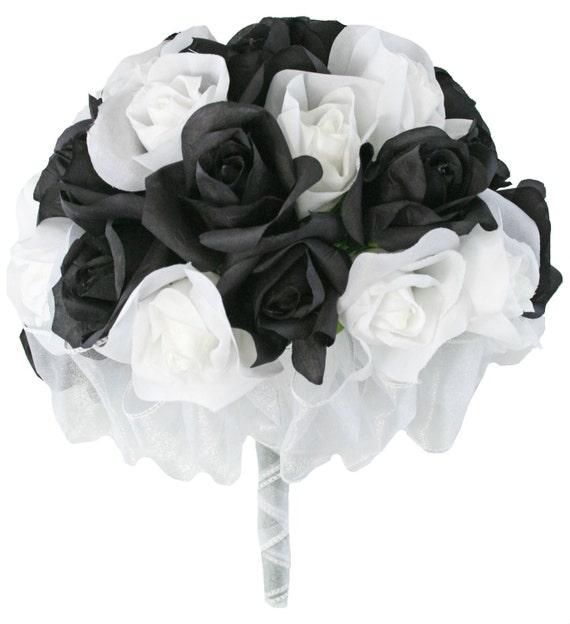 Black And White Silk Rose Hand Tie 3 Dozen Silk Roses Bridal Etsy