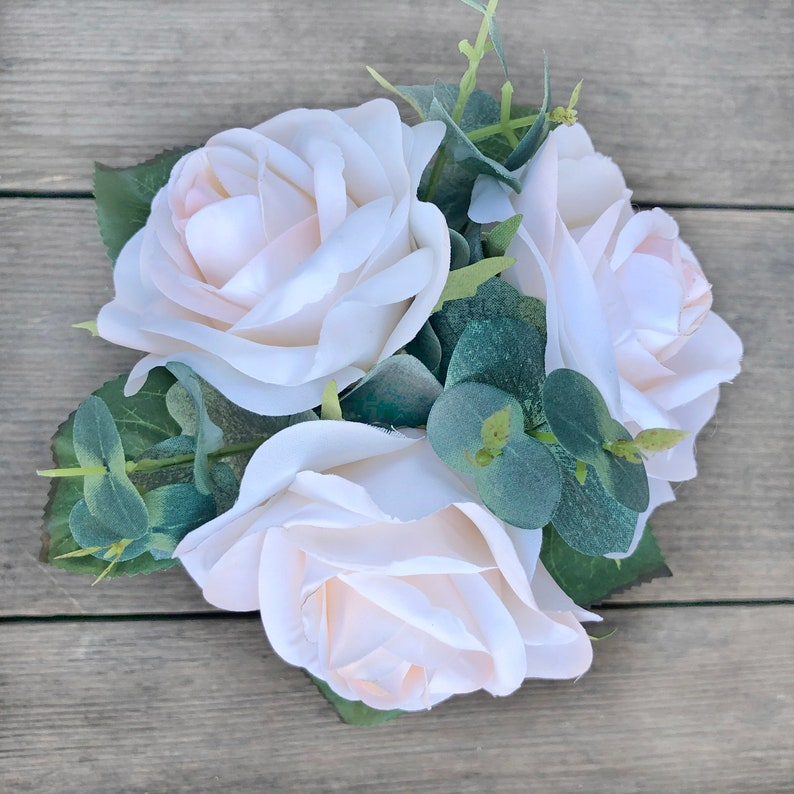 Artificial Flowers for Wedding Ivory Blush Rose Eucalyptus Bridesmaid Bouquet
