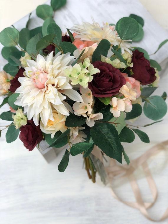Soie Mariage Bouquet Bourgogne Brides Bouquet Bouquet Fleur En Soie De La Mariee Demoiselle D Honneur Bouquets De Boho Eucalyptus Dahlia Rose
