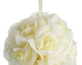 Garden Rose Kissing Ball - Ivory - 6 inch Pomander