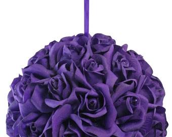Garden Rose Kissing Ball - Purple - 10 Inch Pomander Extra Large