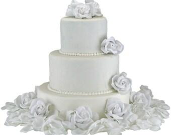 White Silk Rose Cake Flowers