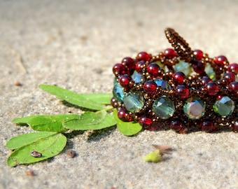 Antique Style Crystal Bead Woven Bracelet
