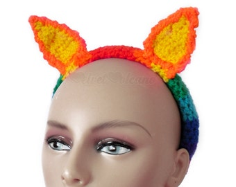 Rainbow Headband, Bunny Ears, Rabbit Hair Accessory,  Girls Hair Band, Womens Headband, Animal Ear Headband, Kawaii Alice Band, Cute Ears