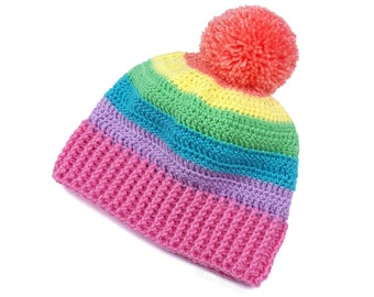 9a4a86bbedaf4d Pastel Rainbow Hat, Pom Pom Beanie, Crochet Beanie, Striped Bobble Hat,  Multicolor Hat, Womens Hat, Pastel Aesthetic, Fairy Kei Kawaii Hat