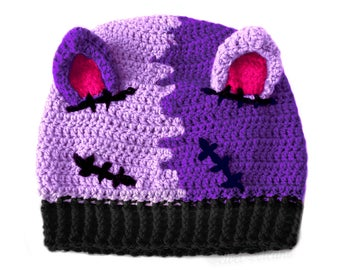 2aae7063c0c NecroKitty Purple Cat Hat Kitty Ear Beanie Pastel Goth Hat Pussyhat Kitty  Hat Cat Ears Beanie Womens Beanie Spooky Hat Creepy Girls Beanie