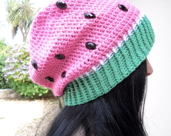 Watermelon Hat, Womens Slouchy Beanie, Fruit Hat, Pastel Slouch Hat, Crochet Slouchy Hat, Pink Green Hipster Hat, Acrylic Hat, Kawaii Hat