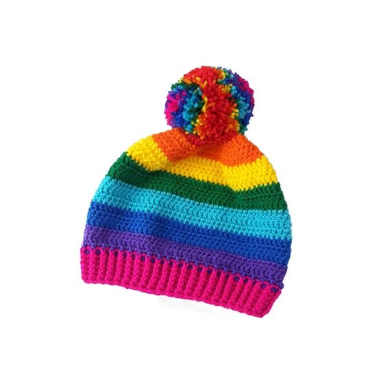 9479b781803f4a Rainbow Beanie PomPom Hat Crochet Beanie Bobble Hat | Etsy