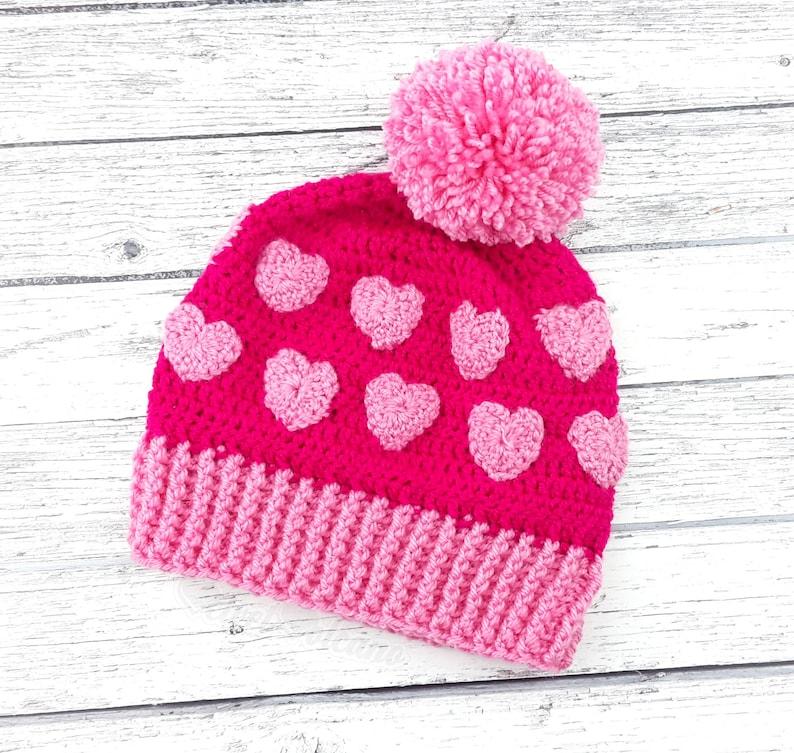 c703926f18a Pink Heart Hat Pom Pom Beanie Heart Beanie Womens Beanie