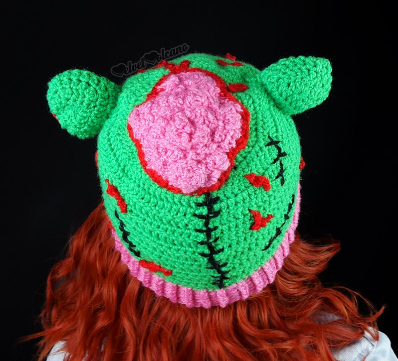 566cc2d3ff0 Zombie Hat Monster Hat Kitty Beanie Halloween Hat Girls