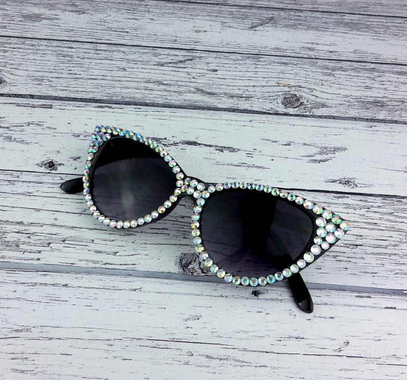 92078340a2a HOLLYWOOD Silver   Black Bling Cat Eye Sunglasses Sparkly