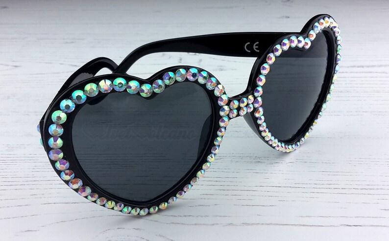 1eeccdda218 GLITTER Heart Sunglasses Heart Shaped Sunglasses Rhinestone