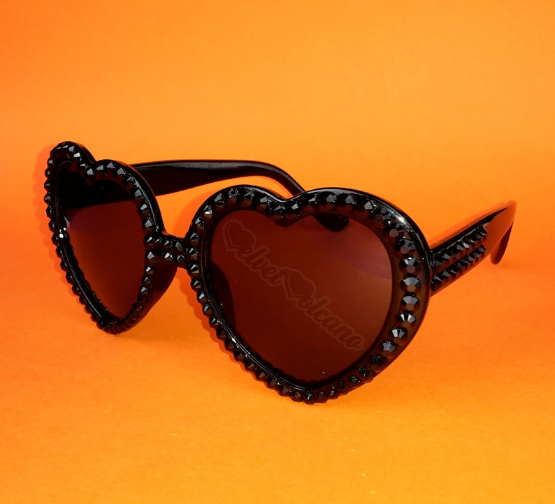 84d1637be3 ONYX Black Sunglasses Heart Sunglasses Gothic Sunglasses