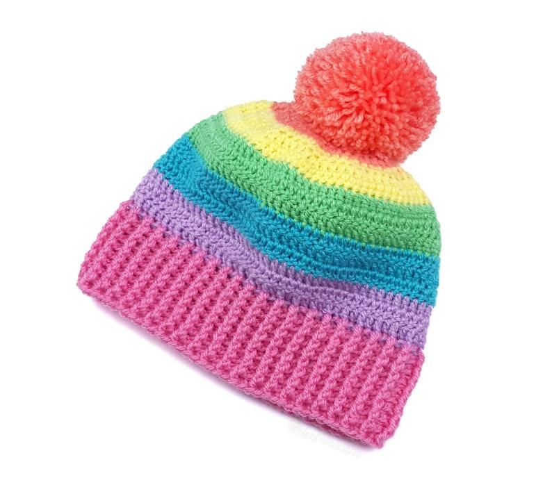 7f51669b100 Pastel Rainbow Hat Pom Pom Beanie Crochet Beanie Striped