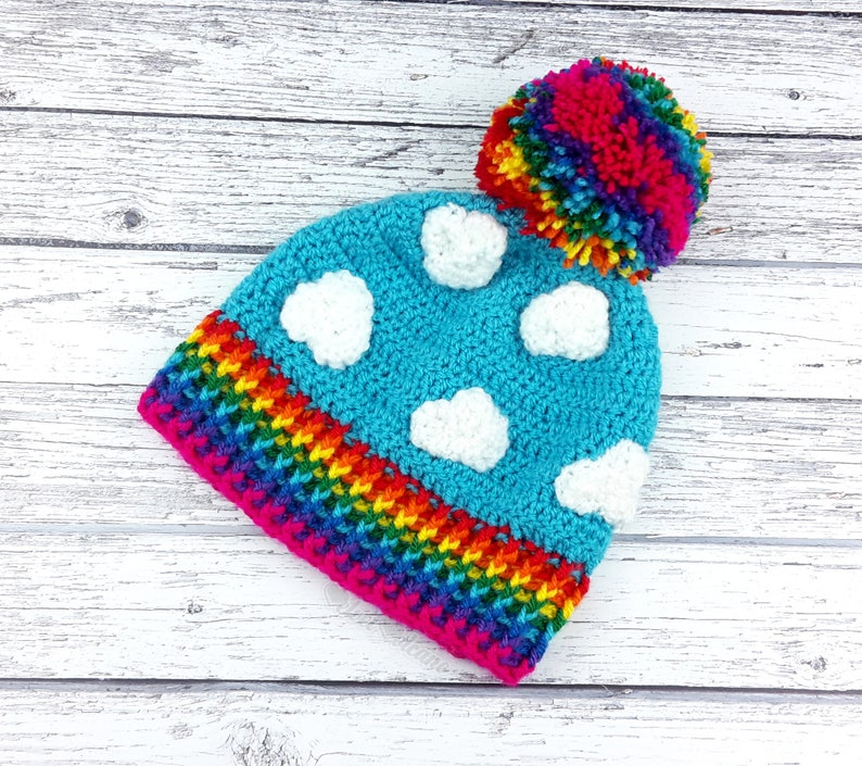 a545abbde2487 Rainbow Cloud Hat Rainbow Beanie Crochet Beanie Bobble Hat