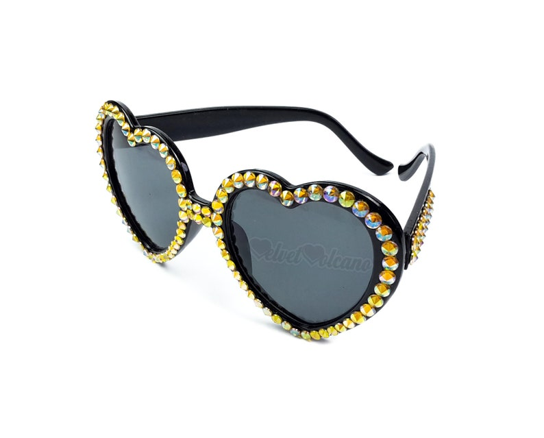 eef302ebe6b HAZARD Heart Sunglasses Yellow   Black Sunglasses Ladies