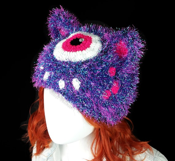 88b596077e0 Monster Hat Cyclops Hat Kitty Ear Beanie Fluffy Hat