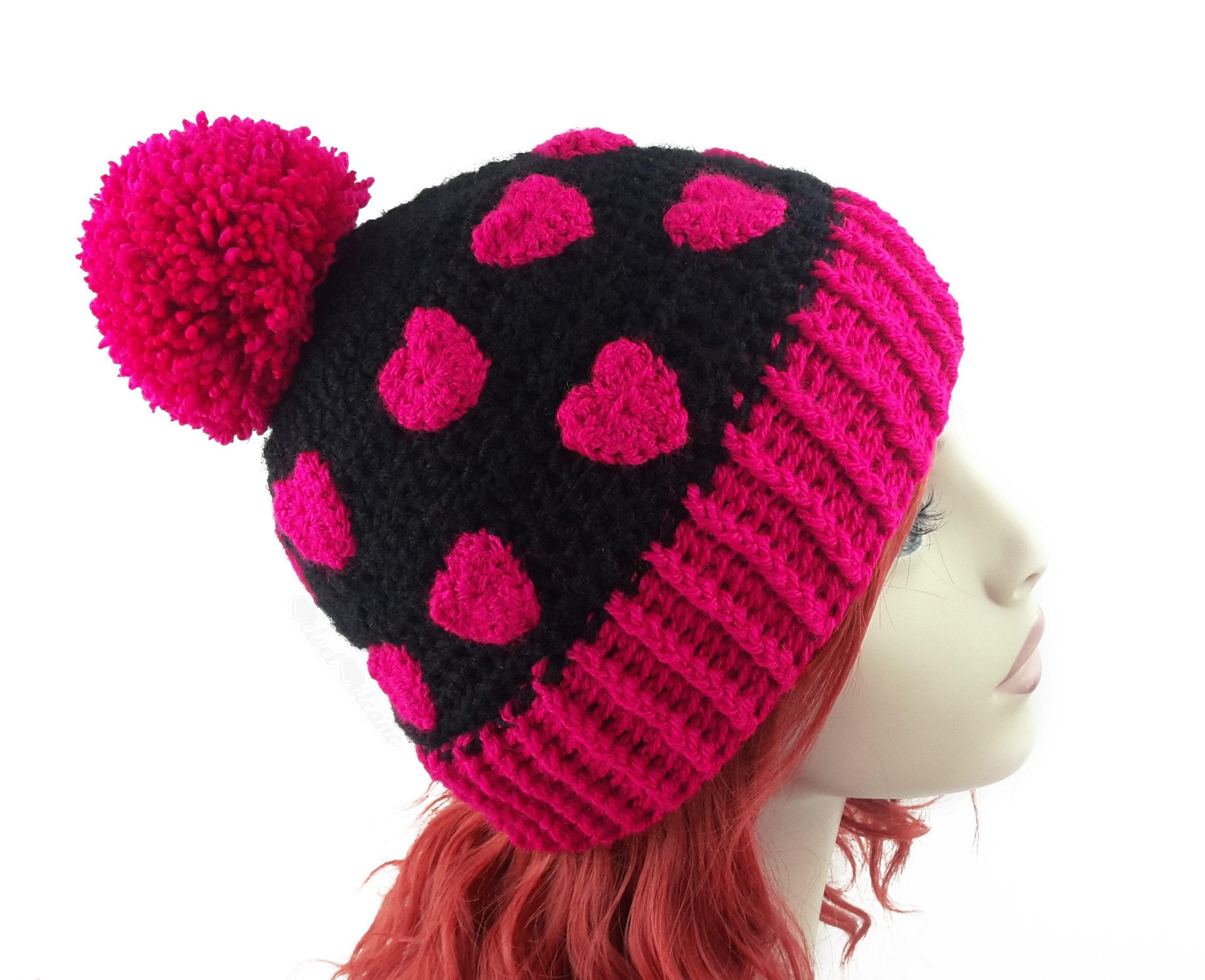 Black   Pink Pom Pom Hat Heart Print Hat Womens Beanie  4aa8d2c1a43
