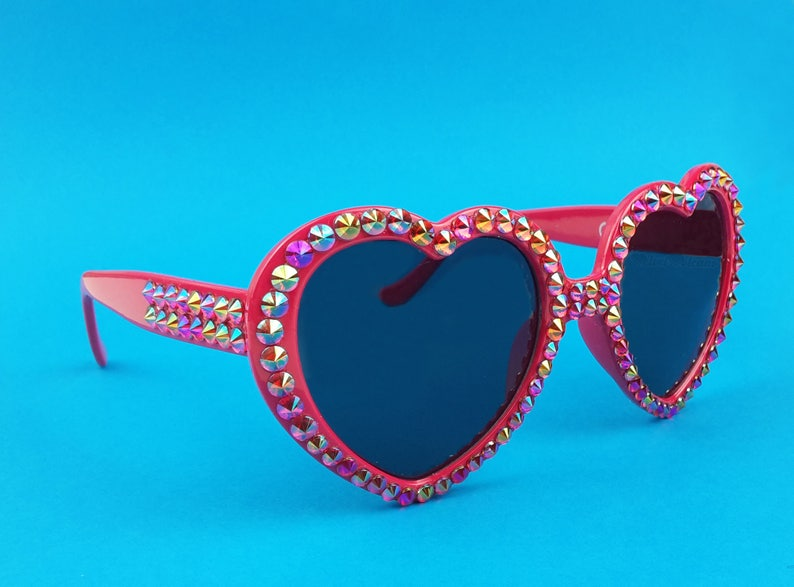 d6de6ed26fc FLAME Red Heart Shaped Sunglasses Sparkly Sunglasses