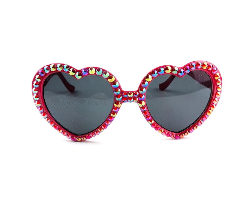 77f95bcd22 FLAME Red Heart Shaped Sunglasses Sparkly Sunglasses