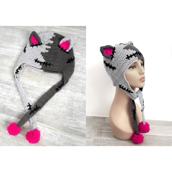 dc40ccae0fe CorpseKitty Earflap Hat Womens Spooky Crochet Cat Beanie Grey