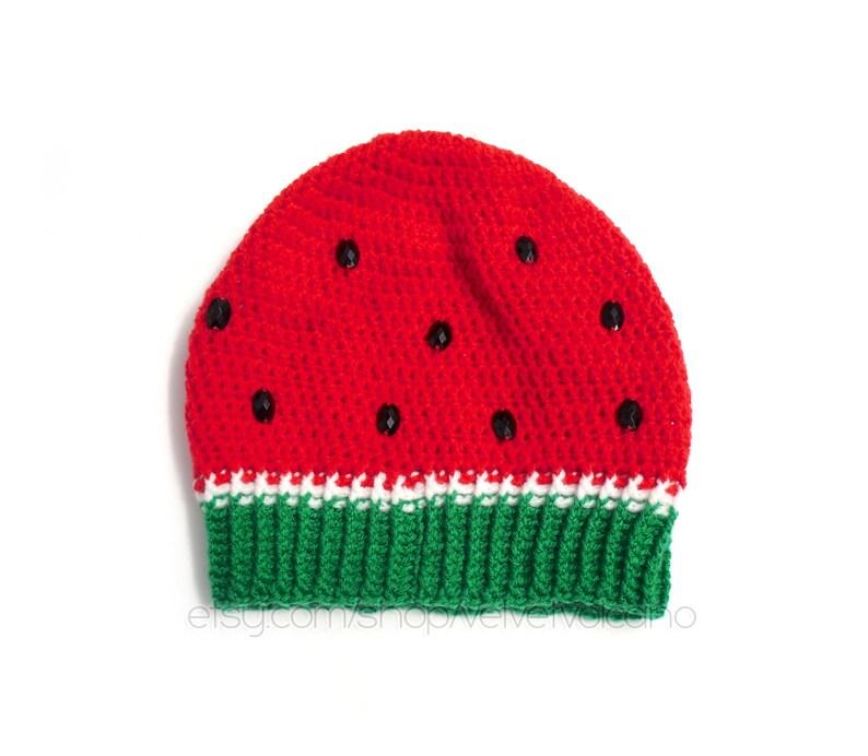 Fruit Hat Unisex Beanie Melon Hat Crochet Beanie Womens Hat Slouchy Hat Vegan Beanie Kawaii Hat Slouch Beanie Watermelon Beanie