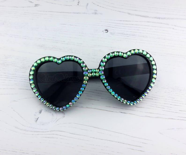e4f1a057fc MERMAID Heart Sunglasses Black and Pastel Green Sunglasses