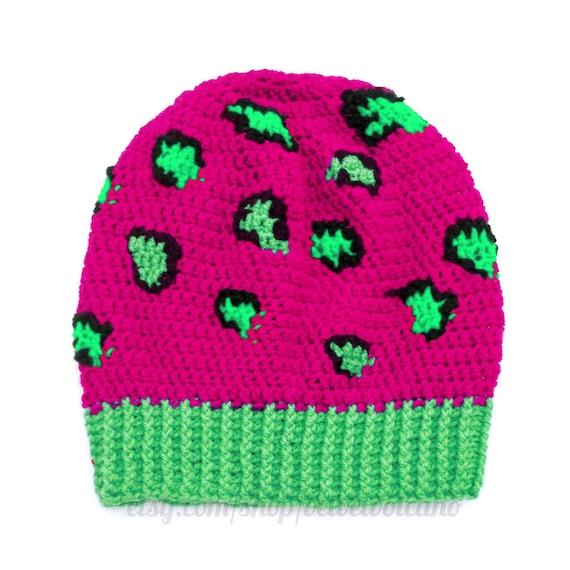 Leopard Neon Mütze Häkeln Beanie Rosa Beanie Womens Neon Etsy